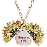 Collana con medaglione a forma di girasole con personalizzato incisa argento Medaglione Aperto Inciso Regalo per donna