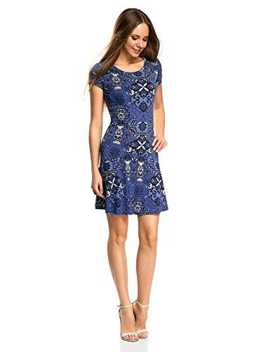 oodji Ultra Damen Jersey-Kleid mit Volants Blau (7574E)