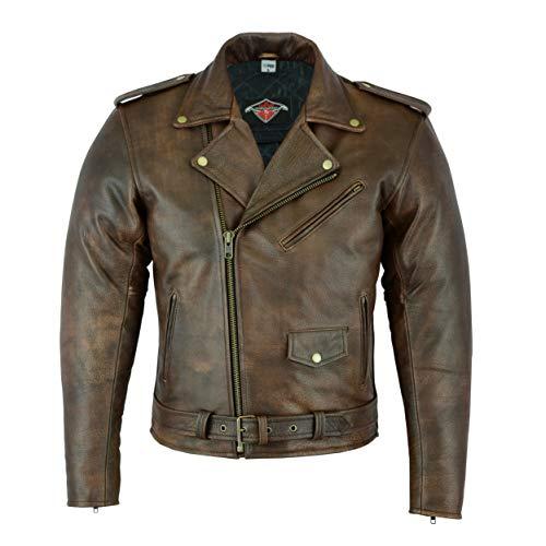 Mens Marlon Brando Style Motorcycle/Motorbike Cowhide Leather Jacket In Brown Sizes S-7XL