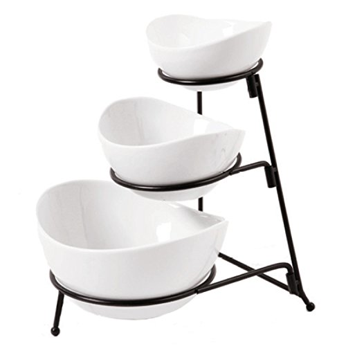 Gibson Elite 101991.04RM Gracious Dining 3 Tier Oval Bowl Set Ware with Metal Rack, White - White Metal Plate Rack