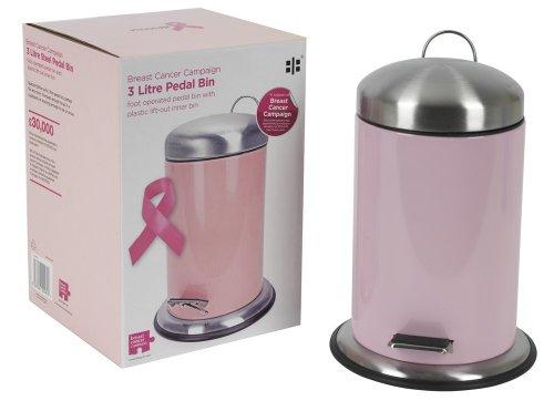 Breast Cancer Campaign - Cubo de basura con pedal (3 L), color rosa