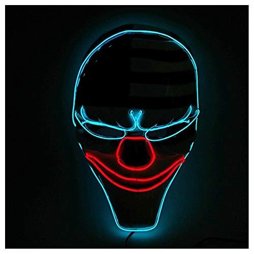 GRYY Prom EL Kaltlicht Strahlen Maske Cocktail Party Requisiten Trolling Tanz Strahlen Maske Cosplay Halloween Kostüm,Blue-Voice Control (Daft Punk Kostüme Für Kinder)