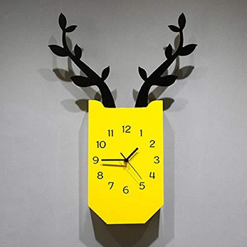 bcagfkasf Geweihwanduhr, Wohnzimmer, stumme Uhr, Modeuhr, moderner Minimalist, Hauptuhr@18 Zoll_Gelb (388 Uhr Batterie)