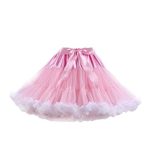 PhilaeEC Frauen Tüll Petticoat Tutu Party Multi-Layer Puffy Cosplay Tanz Rock(Rosa+Weiß)