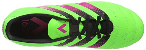 adidas Ace 16.2 Fg/Ag Leather, Scarpe da Calcio Uomo Verde (Solar Green/Shock Pink/Core Black)