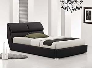 Lit design adulte EROS simili cuir noir + sommier 160x200 cm. Idéal pour votre chambre à coucher