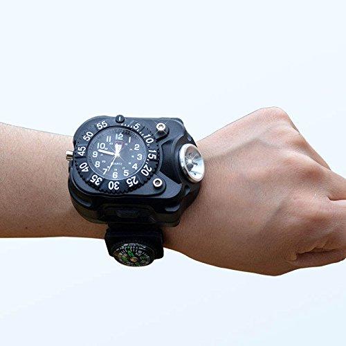 Yiwa Outdoor Sport Nachladbare Herren Armbanduhr Wasserdichte Wristband Lampe 3 in 1 Super Bright Fackel Lichter Kompass LED Uhr Taschenlampe