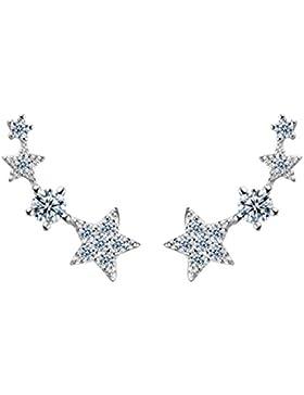 Blingery 925 Silber Fashion Elements Zirkonia Stern Ohrstecker Ohrringe 8*17mm Weiß
