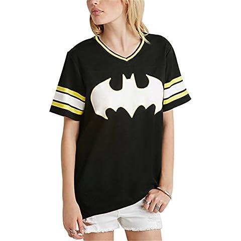 Batman Graphic Grafica Scritta Motivo Logo Slogan Stampa Graphic Varsity A Righe Rigato Strisce Baseball T-shirt Tee Maglietta Top Cima Nero
