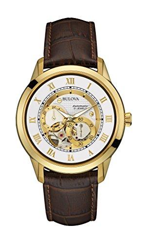 Bulova Uhren Batterien Für (Bulova Herren Armbanduhr Designer automatisch selbst Wicklung Gitarrengurt, Leder, weiß gold Zifferblatt 97A121)