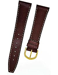 Fortis Swiss Reloj de pulsera piel marrón con costura beiger 20mm oro 8801