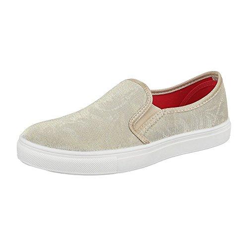 Slipper Damen Schuhe Niedrig-Top Moderne Ital-Design Halbschuhe Beige 22-168  [B01N7D0SUQ]