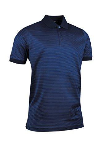 Mercerisierte Golf (Glenmuir Herren Rib Cuff schmal Stripe mercerisierte Baumwolle Golf Polo Shirt Gr. Large, Navy/Ascot Blue)