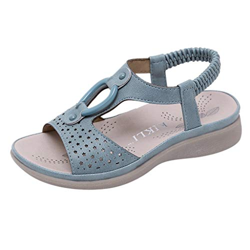 Dorical Sandalen für Mädchen,Böhmischen Slippers Mode Flache Casual Sandalen Strand Sommer Prinzessin schöne Flache Schuhe für Lässig, Mode, Party, Tanz(Blau-3,8-8.5Jahre)