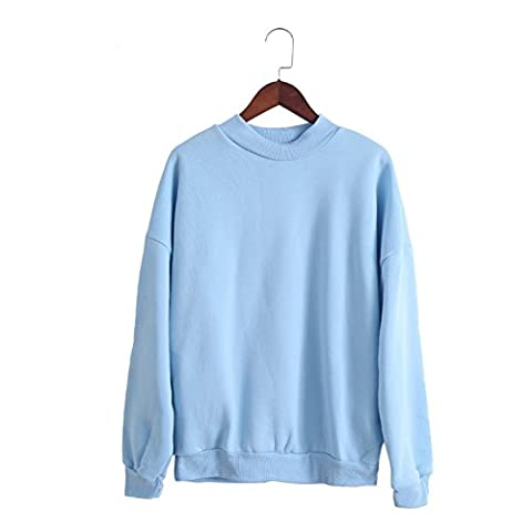 SW-Ning Long Sleeves Sweater Thickened Loose Hooded Mandarin Collar Artificial Wool Sweatshirt size XL (blue)