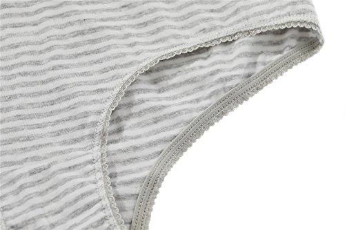 Attraco Damen Panties Baumwolle Hipster Mit Spitze EverNew 4er Pack Streifen / Grau