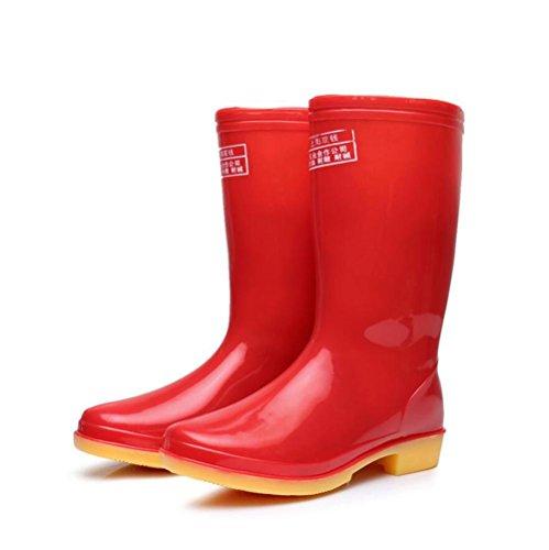 SIHUINIANHUA Mädchen in der Röhre Regen Stiefel/Sehne am Ende der Sätze von Schuhen/Arbeitsschuhe Regenstiefel, Red, 37