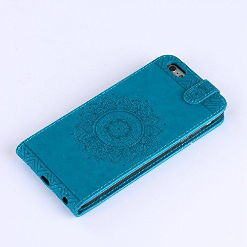 JAWSEU Coque Etui pour iPhone 6 Plus/6S Plus 5.5,iPhone 6S Plus Leather Case with Strap,iPhone 6 Plus Etui en Cuir Folio Flip Wallet Cover Case,2017 Neuf Style Femme Homme Up and Down Unlock Holster R bleu