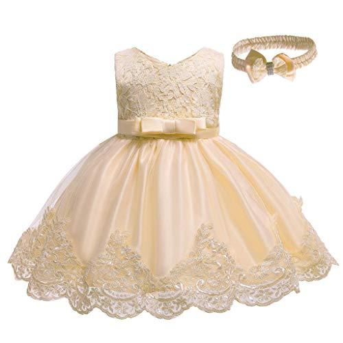 Yanhoo Kleinkind Baby Mädchen Kleid Geburtstag Bowknot Hochzeit Tutu Prinzessin Blume Spitzenkleid Karnevalskostüm