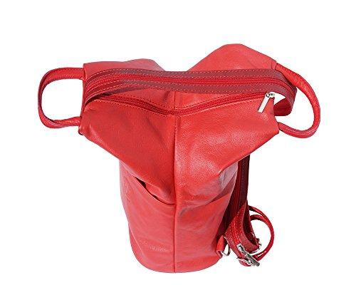 Weiches Italienisches Leder Cabrio Zip Rucksack und Schultertasche Rot