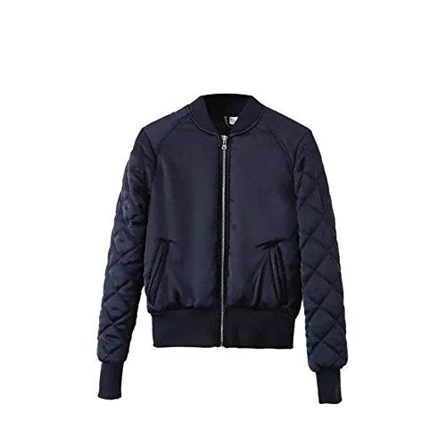 iPretty Fashion Jacke Damen kurze Bomberjacke gepolsterten Mantel Reißverschluss Cardigan Outwear