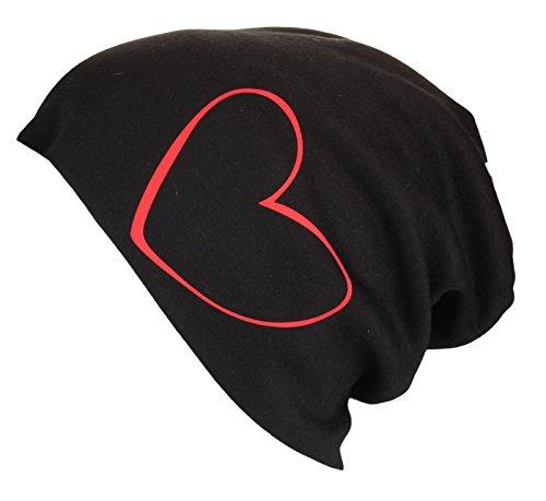 Alex Flittner Designs XL Jersey Beanie in schwarz mit Motiv Herz - Handprintet in Germany
