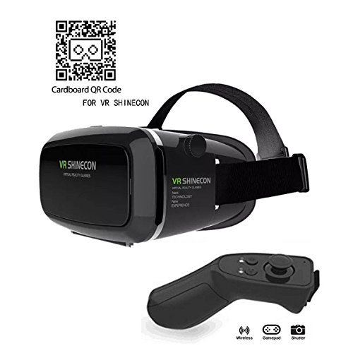VR Brille,3D VR Headset 3D VR Brille Virtuelle Realität Headset Virtual Reality Brille Headset für 3D Filme und Spiele, Brille Video Movie Game Brille 3D Virtual Reality Glasses + Bluetooth Controller ,Kompatibel mit 4 ~ 6 Zoll Smartphones, iPhone 6 6s 7, Samsung Note 5, S6 Edge Plus