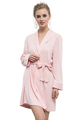 Suntasty Damen Morgenmäntel kurzform Bademäntel mit Gürtel langarm Nachtwäsche (Rosa Bodysuit)