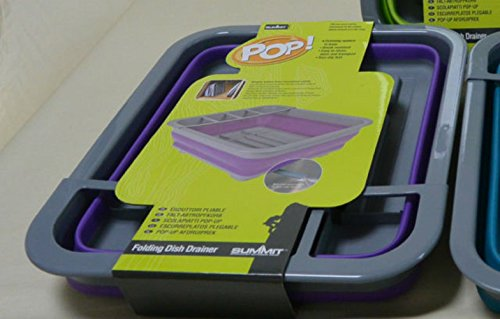 PMS SUMMIT POP DISH DRAINER WITH NON SLIP DRIP TRAY PURP/GRE