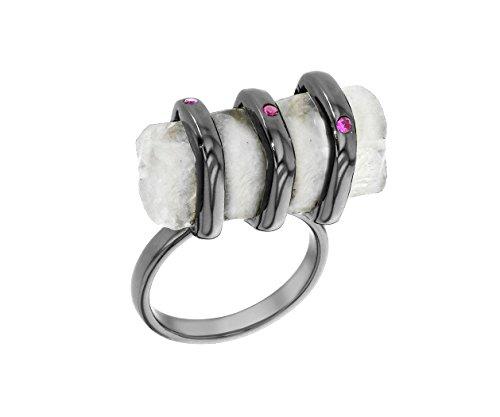 didi anillos Mujer plata oxidada piedra de luna rectangular