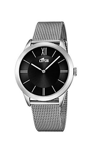 Lotus Unisex Quartz Watch with Black Dial Analogue Display and Silver Stainless Steel Bracelet 18327/2