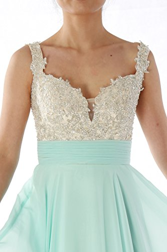 MACloth Women Straps Lace Chiffon Long Ball Gown Prom Formal Dress Wedding Party Dunkelmarine