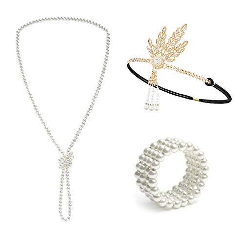 Metme 1920er Jahre Great Gatsby Zubehör Set Flapper Stirnband Perlenkette Stretch-Armband ()