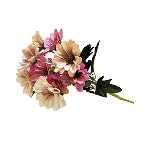 Shyymaoyi - 1 bouquet con 10 margherite artificiali autunnali, decorazione per casa, ufficio, matrimoni, feste, foto light pink & pink