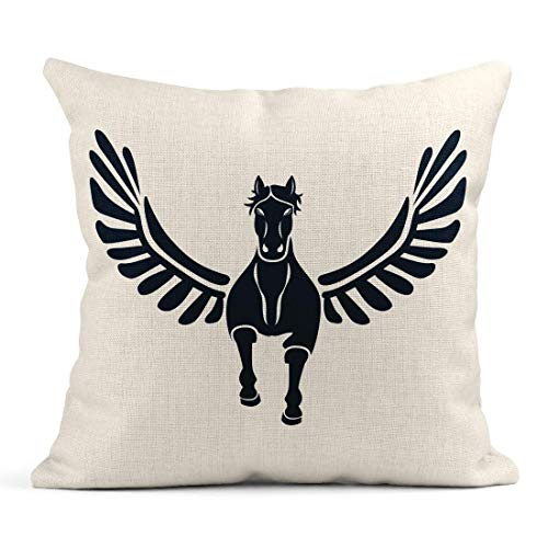 gatetop Decoración Fundas de Almohada de Lino Throw Pegas Front en White Pegasus in Mitología Griega Logotipo de Winged Divine 18x18 Casos Cuadrados de Lino Funda de cojín Impresión de un Lado