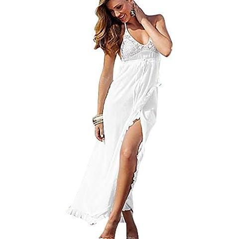 SaiDeng Mujer Bohemio Cuello En V Color Sólido Vestido De Playa Croché Cabestro Vestido Largo