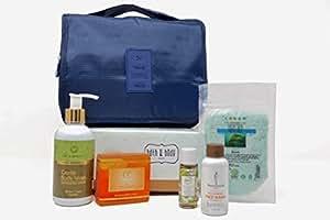 Boxes of Joy Bath & Body Box for Men Premium Combo of Natural Body Wash, Soap, Face Wash, Oil, Bath Salt and Travel Organizer
