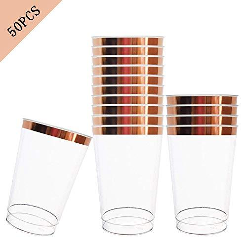 Shi ran 12 once 50 pezzi, bicchieri di plastica usa e getta, 350 ml riutilizzabili, con cornice, per festa di compleanno/matrimonio all'aperto/cena in famiglia