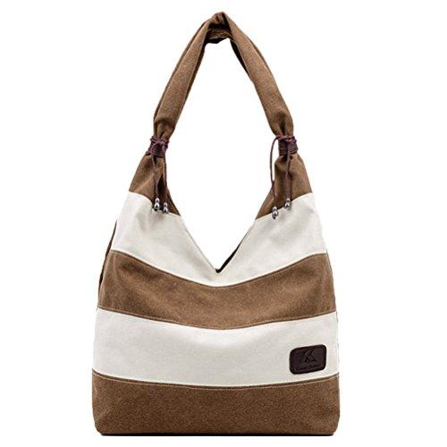 Honeymall Weinlese Streifen Hobo Tasche Leinwand Einkaufstasche Handtasche(Rot) Braun