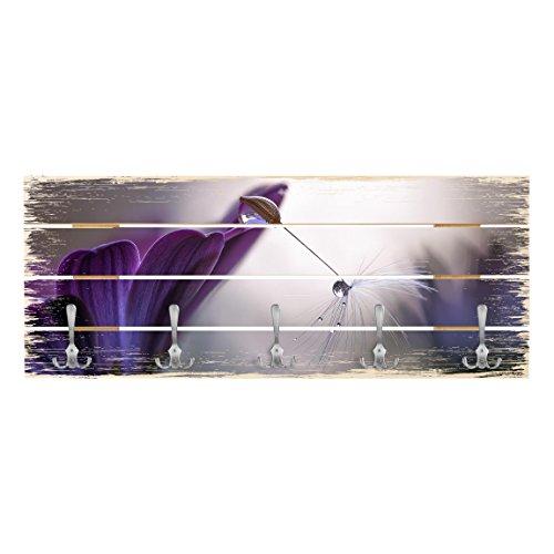 Bilderwelten appendiabiti in legno - purple rain - ganci cromati - orizzontale, appendiabiti a muro appendiabiti da muro appendiabiti da parete appendiabiti design, dimensione: 40cm x 100cm