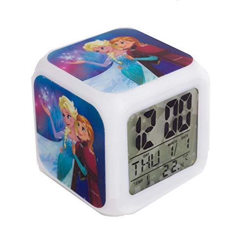 TBL FR33130 Disney Frozen Wecker für Kinder mit Farbwechsel Modus und Nachtlicht Funktion im Anna und ELSA Design