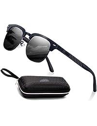 Gafas de sol polarizadas Hombre Mujere Lujo Retro/Aire libre Deportes Golf Ciclismo Pesca Senderismo 100% protección UVA gafas unisex golf conducción Gafas gafas de sol (Al-Mg Metal Frame/black)