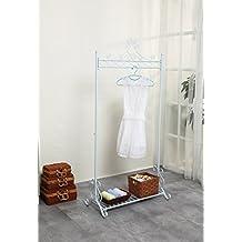 Neun Welten - Vintage perchero de metal para prendas, soporte para colgar ropa con estante de zapatos, Blanco