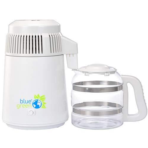 blue green Water Pro Weiss | Destilliergerät mit Glaskanne | 4 Liter reines, destilliertes Wasser | Kein Kontakt mit Plastik | Megahome -
