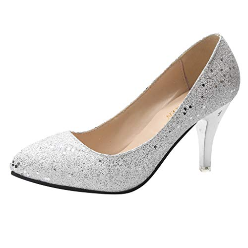 Damen Pumps Klassische Hochzeit Abiball Flandell in 3 Farben Einfach und Bequem Mode Bling Spitz Flach Lässige High Heels Schuhe Gr.35-43 - Trendy Flache Schuhe