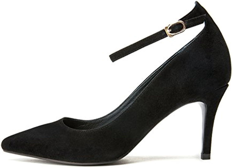 WYYY Damenschuhe High Heels Wortabzug Gut Mit Flacher Mund Spitze Freizeitschuhe 8 Cm ( Farbe : Beige  größeö