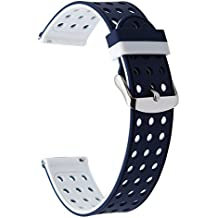 TRUMiRR 18mm de liberación rápida banda de reloj de silicona caucho correa de muñeca para Huawei reloj 1 / Fit honor S1, Asus Zenwatch 2 mujeres 1.45 '' WI502Q, Withings Activite / Pop / acero HR 36mm, fósiles Q Tailor, LG Watch Style