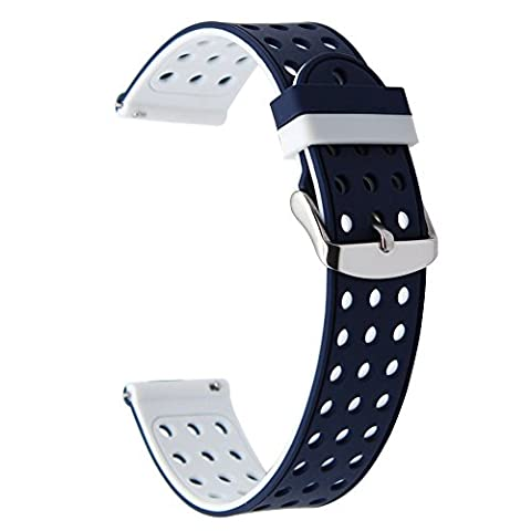 TRUMIRR 18mm Quick Release Watch Band Bracelet en caoutchouc silicone pour Huawei Watch 1st / Fit Honor S1, Asus Zenwatch 2 Femmes 1.45 '' WI502Q, Withings Activite / Pop / Steel HR 36mm, Fossil Q Tailor, LG Watch Style