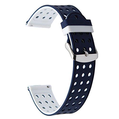 TRUMiRR 18mm Quick Release Uhrenarmband Silikonkautschuk Handgelenkschlaufe für Huawei Uhr 1. / Fit Ehre S1, Asus Zenwatch 2 Damen 1.45 \'\' WI502Q, Withings Activite / Pop / Stahl HR 36mm, Fossil Q Tailor, LG Uhren Style, Withings Steel HR 36mm