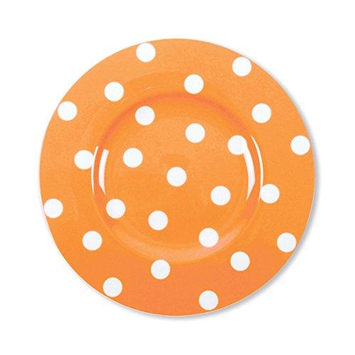 Bruno Evrard Assiette Dessert à Pois Orange en Porcelaine 22cm - Lot de 6 - Freshness Dots